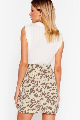 Nasty Gal Womens Cow Print Ruched Ruffle Mini Skirt - Green - 4