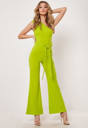 Missguided Lime One Shoulder Wide Leg Playsuit
