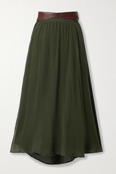 CARAVANA Cholul Leather-trimmed Cotton-gauze Wrap Maxi Skirt - Army green