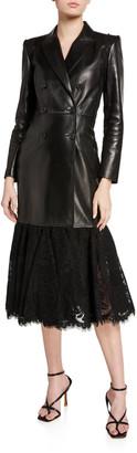 Alexander McQueen Lace Hem Leather Jacket