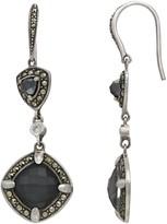 Lavish By Tjm Lavish by TJM Sterling Silver Crystal Hematite Doublet & Marcasite White CZ Earrings