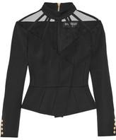 Balmain Cutout Wool Top - Black