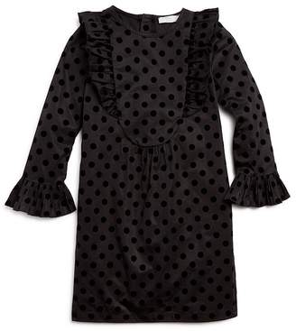 Stella McCartney Girls' Flocked Polka Dot Print Dress - Little Kid, Big Kid