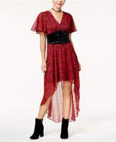 Disney Princess Snow White Juniors' Velvet Corset Printed Dress, Created For Macy's