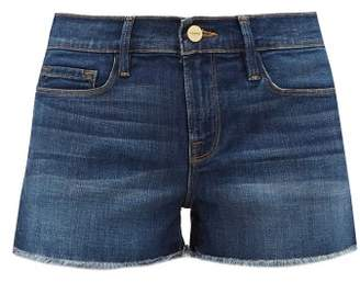 Frame Le Cutoff Frayed Denim Shorts - Womens - Dark Denim