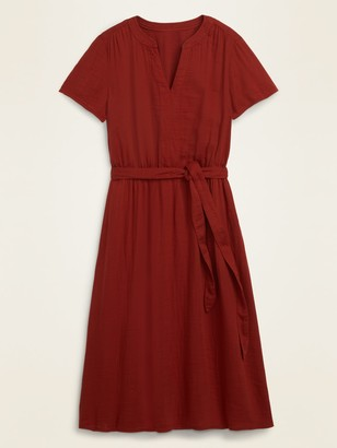 Old Navy Waist-Defined Tie-Belt Midi Dress for Women