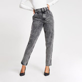 River Island Black acid wash high rise tapered jeans