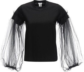 Noir Kei Ninomiya Cotton Top W/ Long Tulle Sleeves