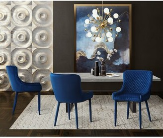 Wrought Studio Diantha Upholstered Dining Chair Upholstery Color: Navy