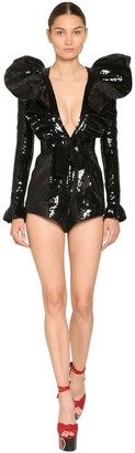 Saint Laurent SEQUINED SILK V NECK ROMPER