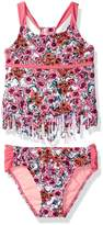 Jessica Simpson Big Girls' Ditsy Floral Fringe Tankini Two Piece Swim Set