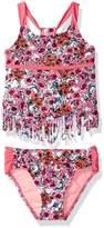 Jessica Simpson Big Girls' Ditsy Floral Fringe Tankini Two Piece Swim Set
