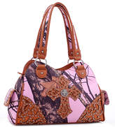 Dasein Tan & Pink Embroidered Cross-Accent Satchel