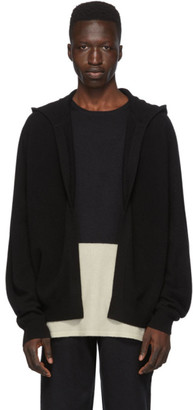 Frenckenberger Black Cashmere Open Front Hoodie