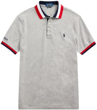Polo Ralph Lauren Stripe-Trim Custom-Fit Polo