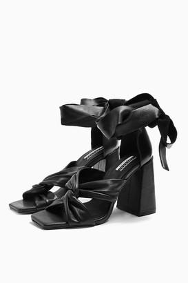 Topshop REVOLVE Leather Black High Sandals