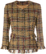 Tagliatore check fringed fitted jacket