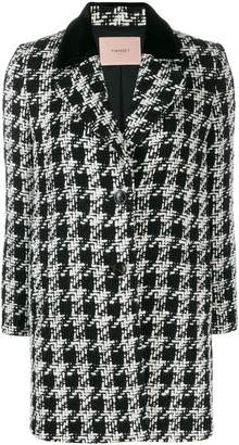Twin-Set houndstooth pattern coat