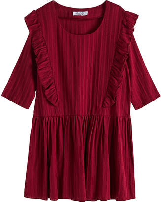 Cup Of Sweet Cup of Sweet Casual Dresses Wine - Wine Red Ruffle-Accent Drop-Waist Dress - Girls