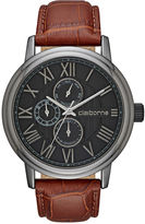 Claiborne Mens Croc-Look Brown Leather Strap Watch