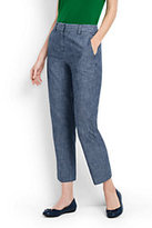 Lands' End Women's Tall Mid Rise Chino Crop Pants-Evening Sky Chambray