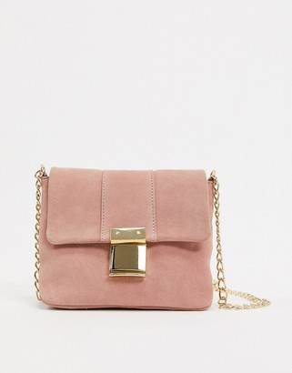 Asos Design DESIGN suede push lock cross body bag
