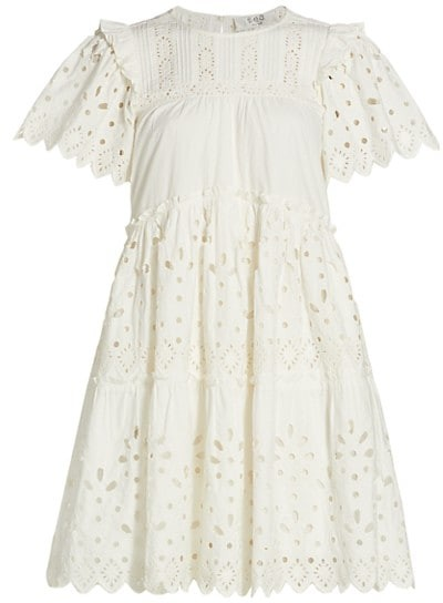 Sea Eyelet Tiered Mini Dress