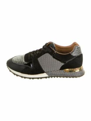 Louis Vuitton Suede Printed Sneakers Black