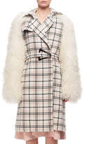 Carven Plaid Belted Top Coat W/ Fur Sleeves, Multi Pattern