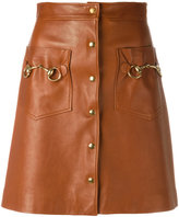 Gucci horsebit leather skirt