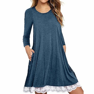 KPILP Women's Short Sleeve Lace Tunic Dress Plus Size Cotton T Shirt Dress with Pockets Ladies Mini Dress Loose fit Casual Daily Summer Solid Color Short Dress(Blue 22 UK / 5XL CN)