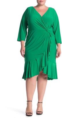 Marina Ruched 3/4 Sleeve Ruffle Hem Dress (Plus Size)