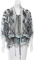 Roberto Cavalli Lace-Trimmed Silk Tunic