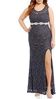 Jodi Kristopher Plus Beaded Glitter Lace Open-Back Dress