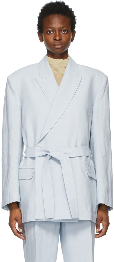 Thumbnail for your product : Acne Studios Blue Linen Belted Suit Blazer