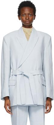 Acne Studios Blue Linen Belted Suit Blazer