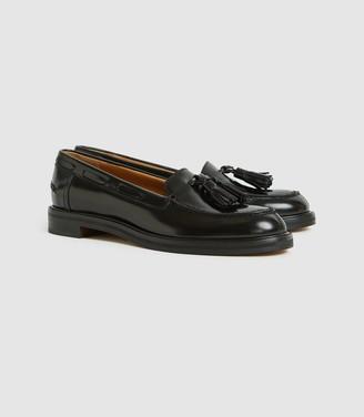 Reiss Farah - Leather Tassel Loafers in Black