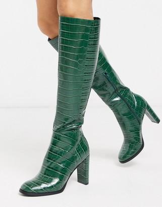 Asos Design DESIGN Cooper knee high boots in green croc