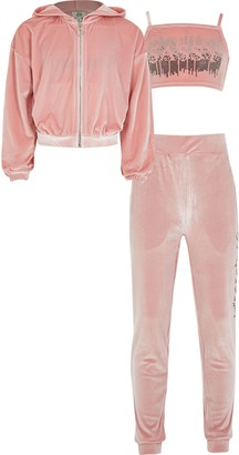 River Island Girls Pink velour 3 piece tracksuit