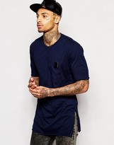 Religion Longline T-Shirt with Badge & Side Split