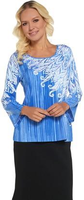 Bob Mackie Abstract Print Knit Pullover Top