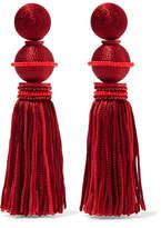Oscar de la Renta Tasseled Beaded Silk Clip Earrings - Red