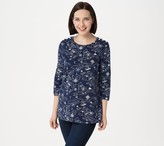 Denim & Co. Printed French Terry 3/4-Sleeve Tunic