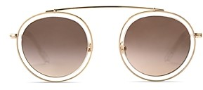Krewe Unisex Conti 24K Round Sunglasses, 46mm