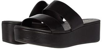 Ecco Plateau Slide Sandal (Black Cow Leather) Women's Shoes