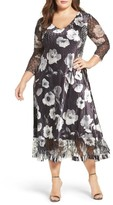 Komarov Plus Size Women's Charmeuse & Lace A-Line Dress