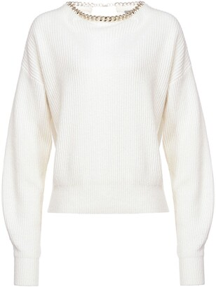 Pinko Chain-Collar Ribbed Jumper