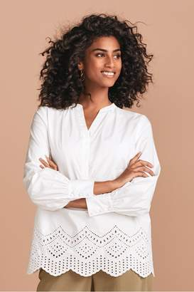Next Womens White Broderie Blouse - White