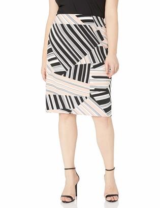 Nine West Women's Plus Size Stripe Skirt