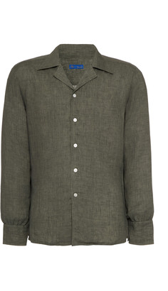 Ring Jacket Camp Collar Linen Shirt
